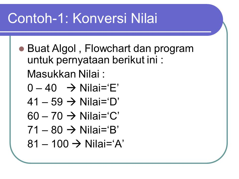 Contoh-1: Konversi Nilai
