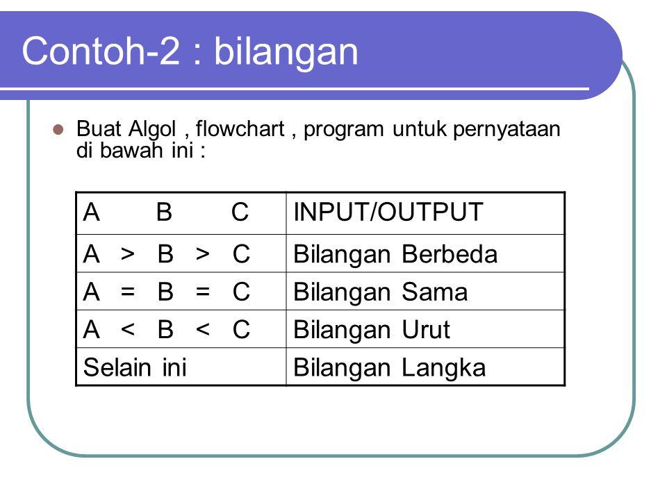 Contoh-2 : bilangan A B C INPUT/OUTPUT A > B > C