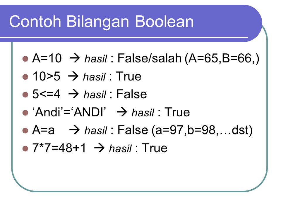 Contoh Bilangan Boolean