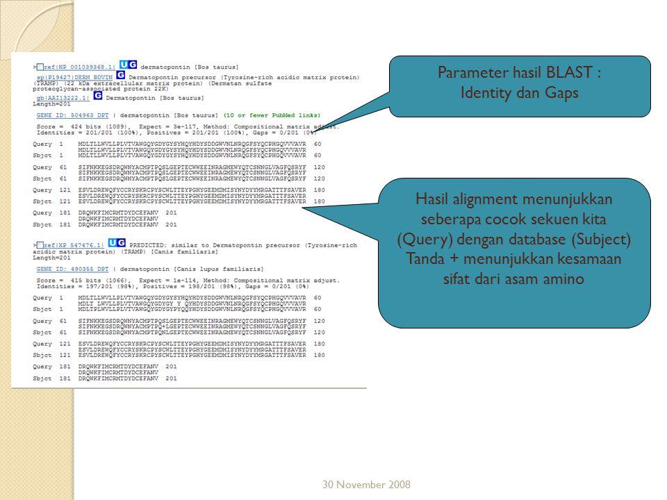 Parameter hasil BLAST : Identity dan Gaps