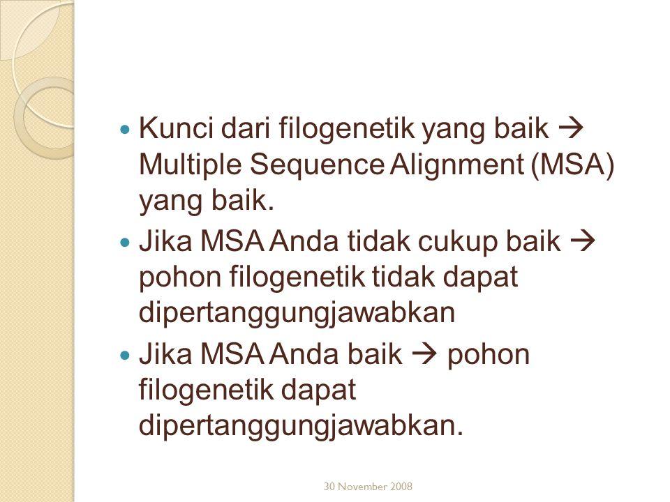 Jika MSA Anda baik  pohon filogenetik dapat dipertanggungjawabkan.