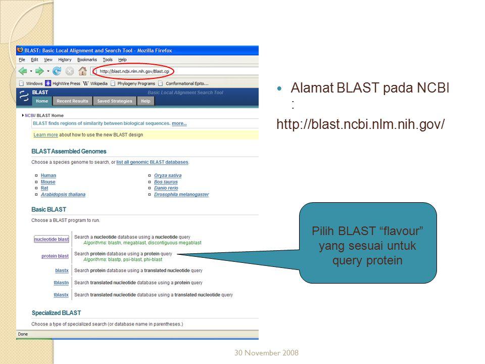 Pilih BLAST flavour yang sesuai untuk query protein