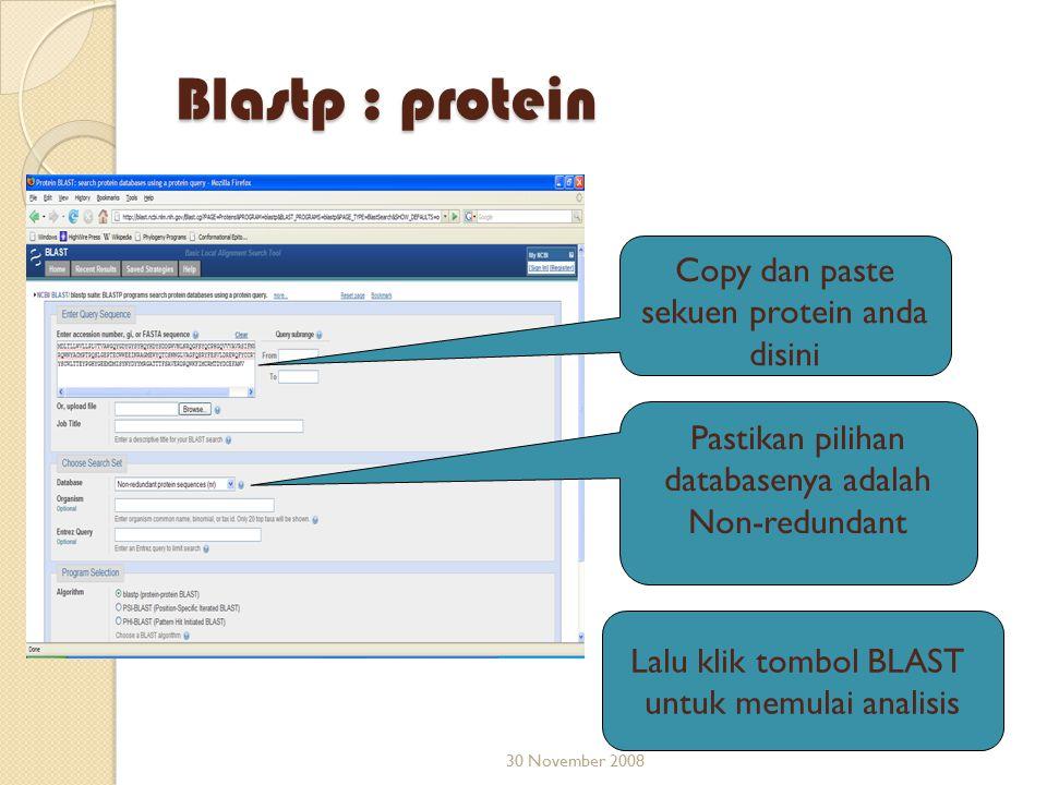 Blastp : protein Copy dan paste sekuen protein anda disini
