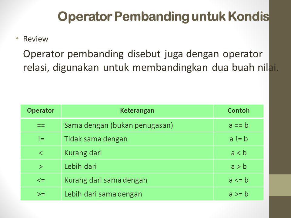 Operator Pembanding untuk Kondisi