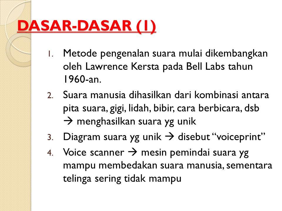 DASAR-DASAR (1) Metode pengenalan suara mulai dikembangkan oleh Lawrence Kersta pada Bell Labs tahun 1960-an.