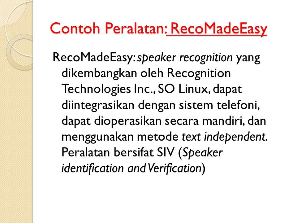 Contoh Peralatan: RecoMadeEasy