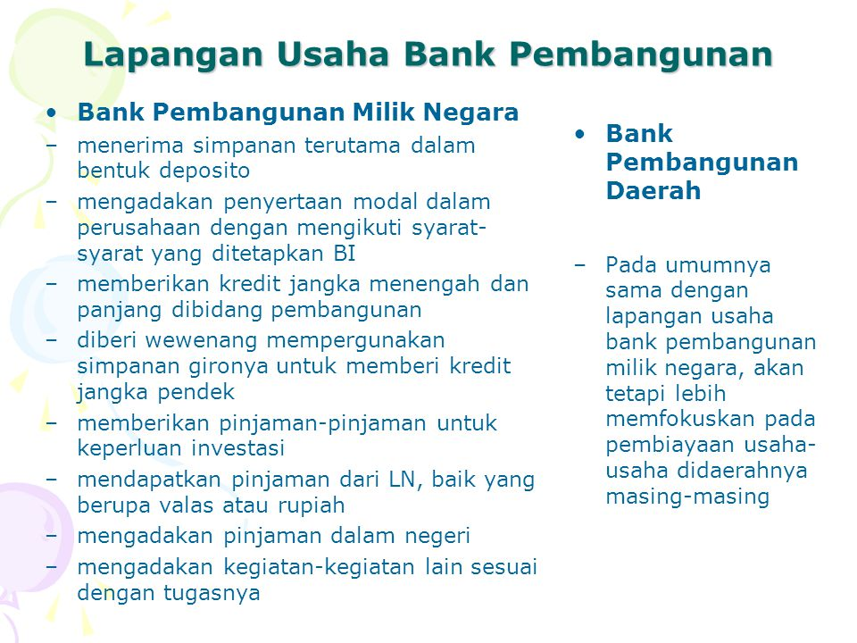 Lapangan Usaha Bank Pembangunan