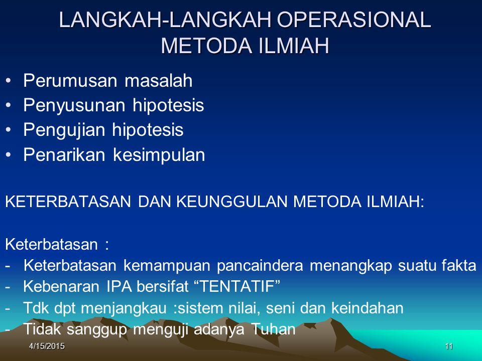 LANGKAH-LANGKAH OPERASIONAL METODA ILMIAH