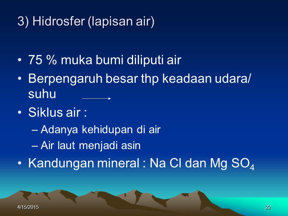 3) Hidrosfer (lapisan air)