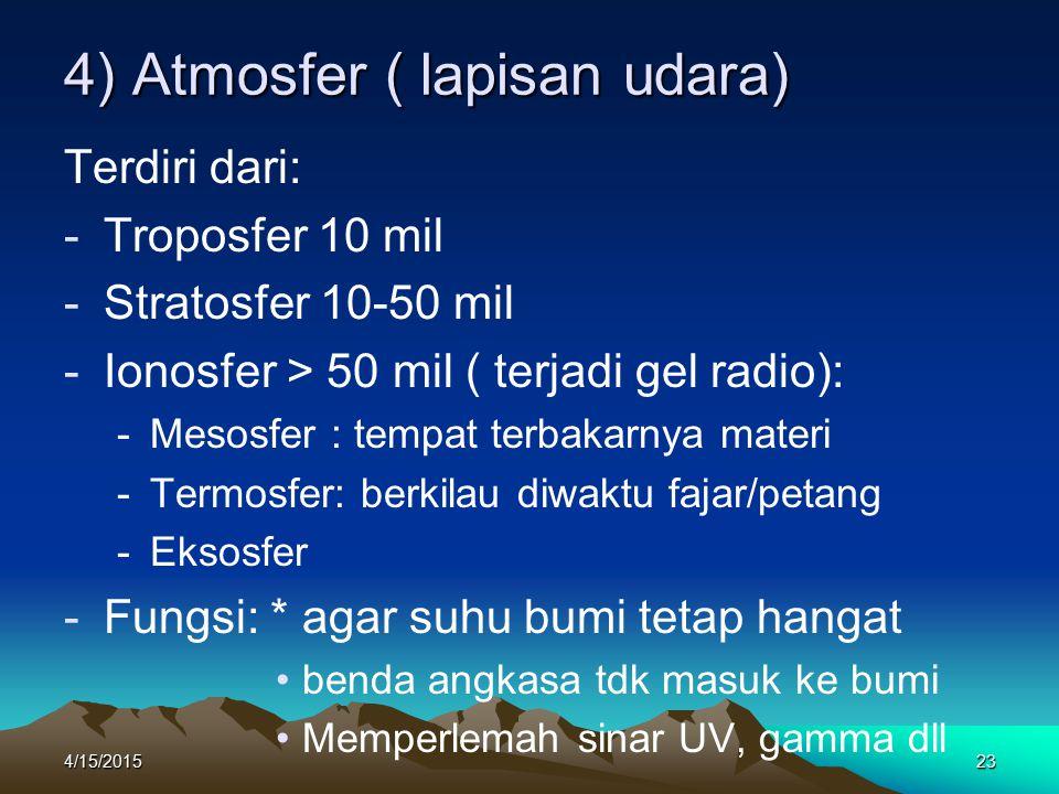 4) Atmosfer ( lapisan udara)