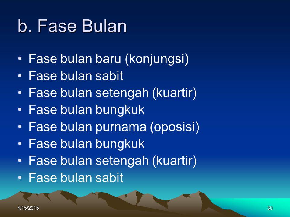 b. Fase Bulan Fase bulan baru (konjungsi) Fase bulan sabit