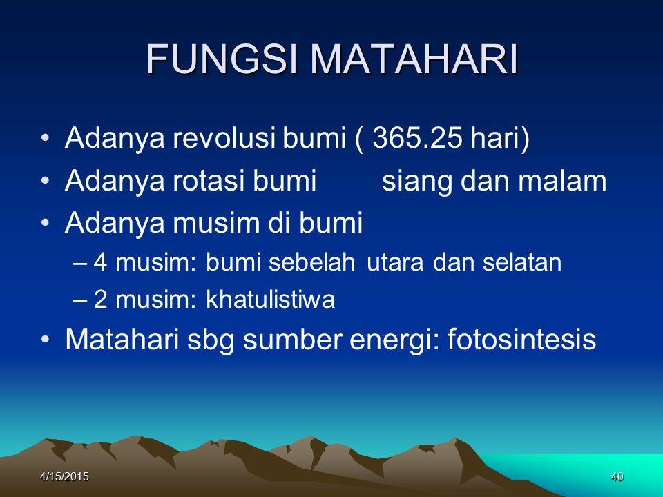 FUNGSI MATAHARI Adanya revolusi bumi ( 365.25 hari)