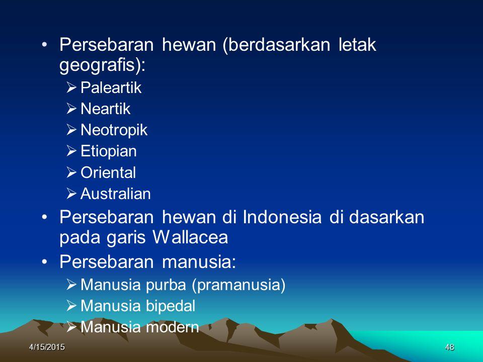 Persebaran hewan (berdasarkan letak geografis):