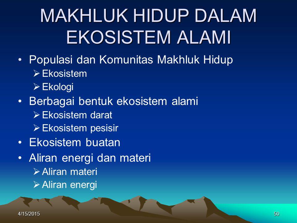 MAKHLUK HIDUP DALAM EKOSISTEM ALAMI