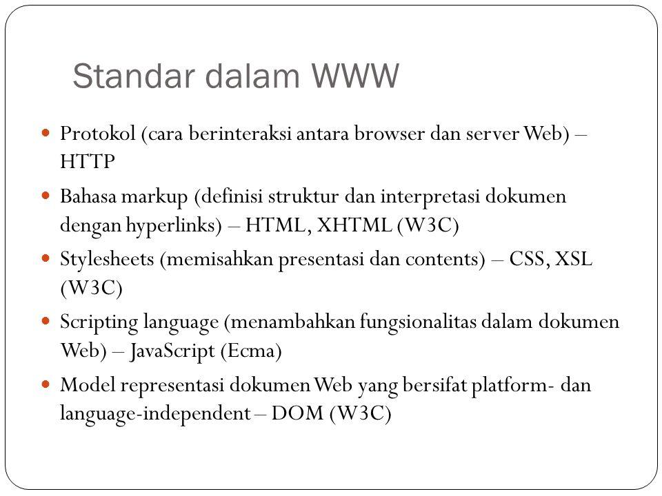 Standar dalam WWW Protokol (cara berinteraksi antara browser dan server Web) – HTTP.