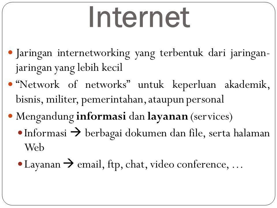 Internet Jaringan internetworking yang terbentuk dari jaringan- jaringan yang lebih kecil.