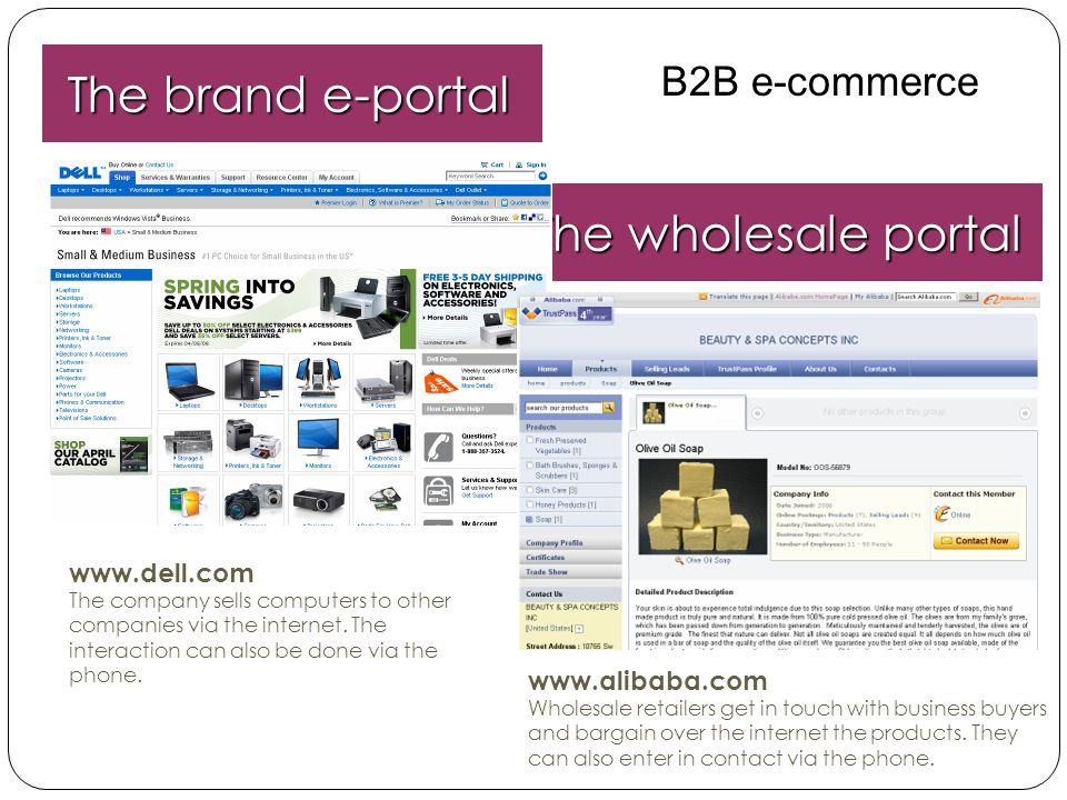 The brand e-portal The wholesale portal B2B e-commerce www.dell.com
