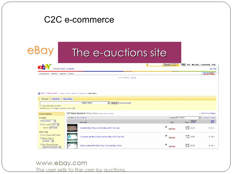 eBay The e-auctions site C2C e-commerce www.ebay.com