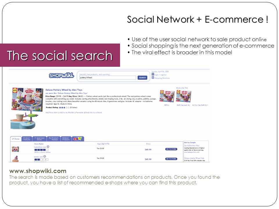 The social search Social Network + E-commerce ! www.shopwiki.com