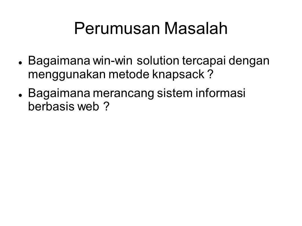 Perumusan Masalah Bagaimana win-win solution tercapai dengan menggunakan metode knapsack .