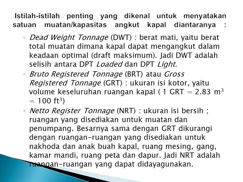 Istilah-istilah penting yang dikenal untuk menyatakan satuan muatan/kapasitas angkut kapal diantaranya :