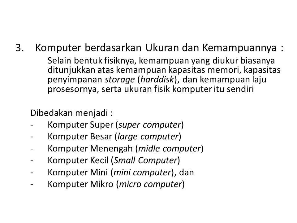 Komputer berdasarkan Ukuran dan Kemampuannya :