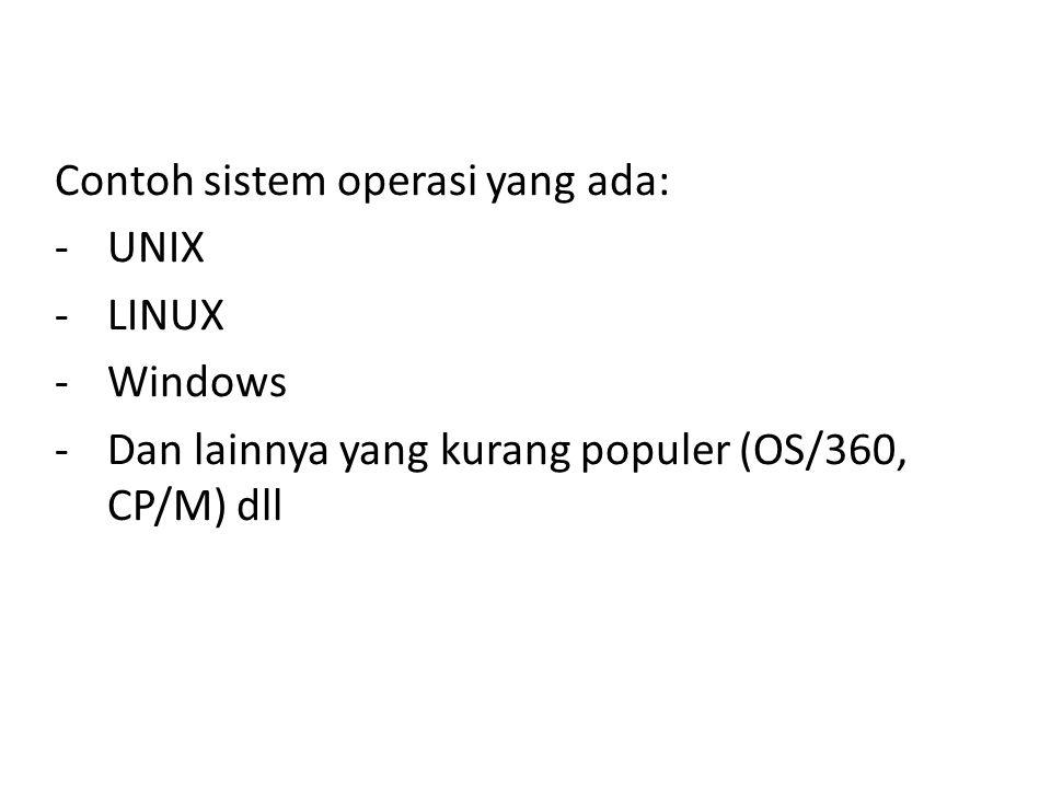 Contoh sistem operasi yang ada: