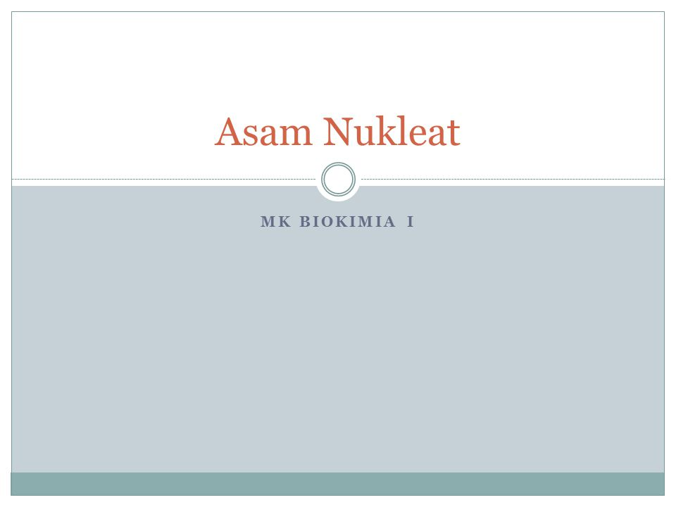 Asam Nukleat MK Biokimia i
