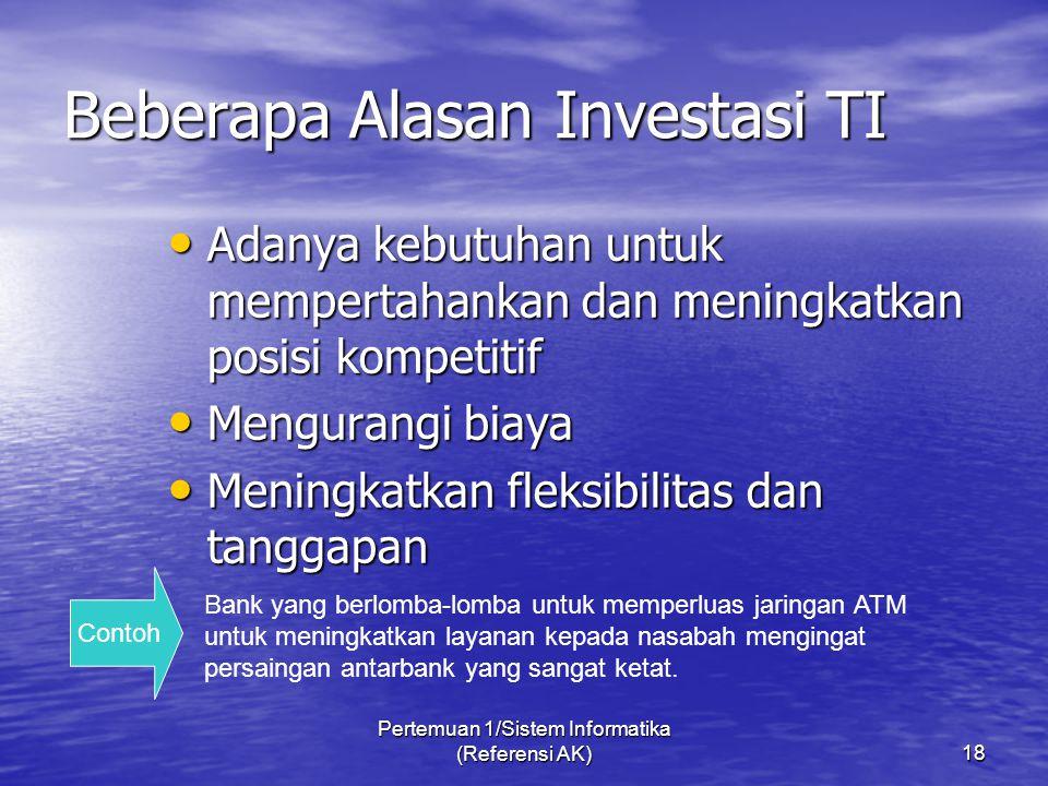 Beberapa Alasan Investasi TI