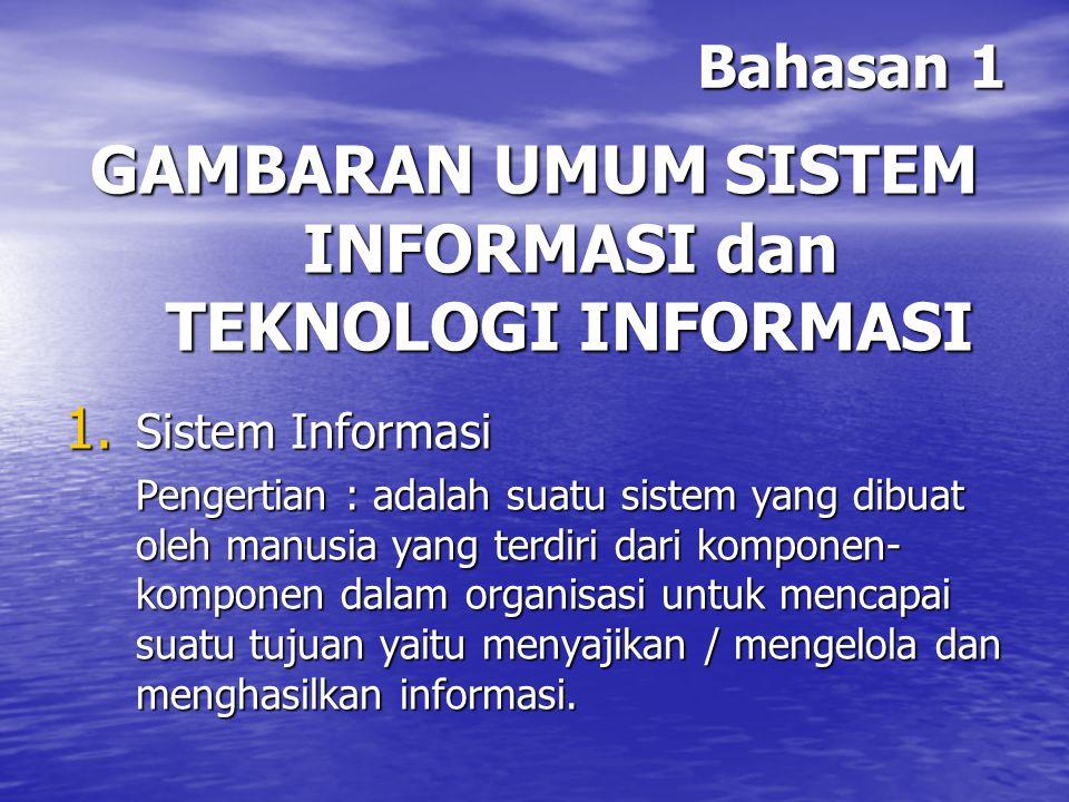 GAMBARAN UMUM SISTEM INFORMASI dan TEKNOLOGI INFORMASI
