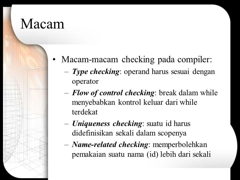 Macam Macam-macam checking pada compiler: