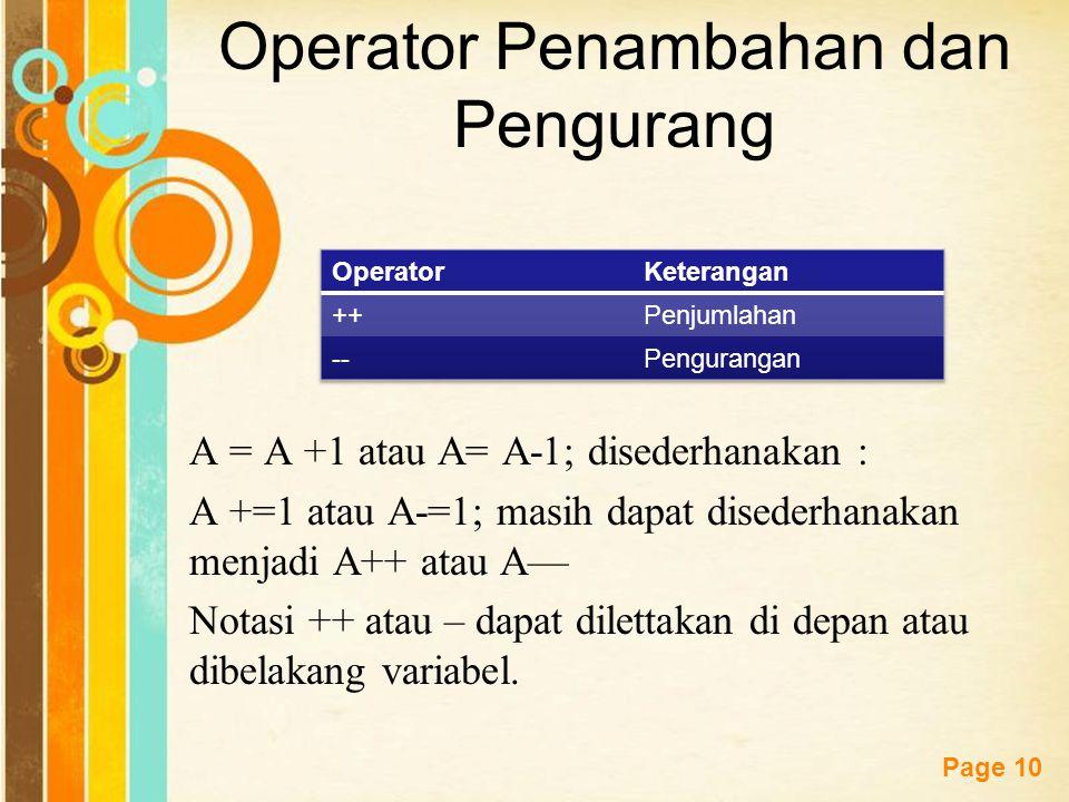 Operator Penambahan dan Pengurang