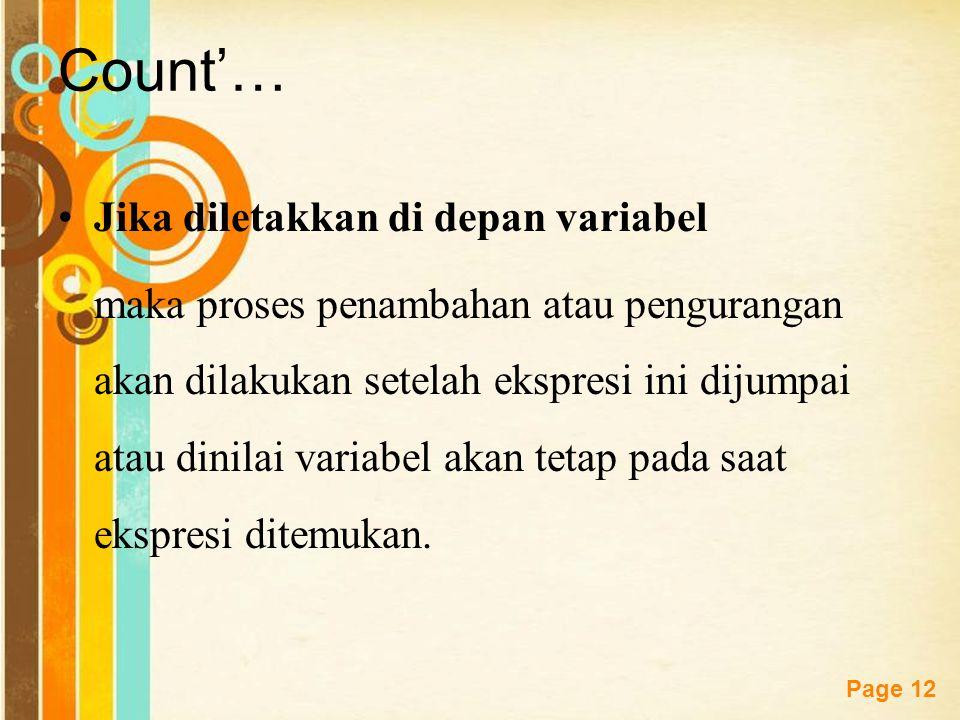 Count'… Jika diletakkan di depan variabel