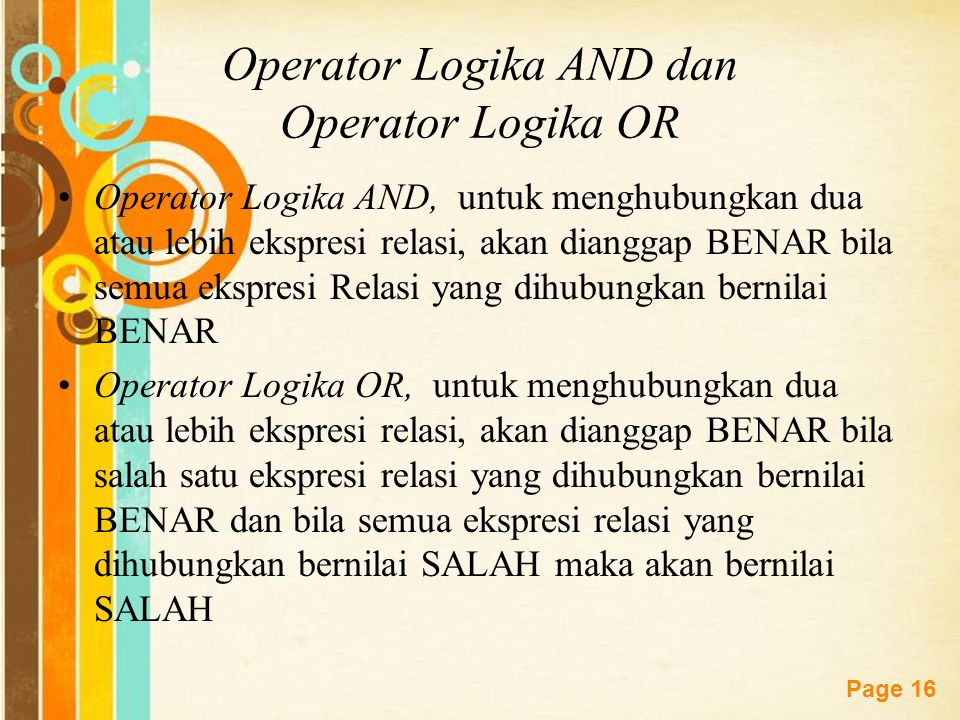 Operator Logika AND dan Operator Logika OR