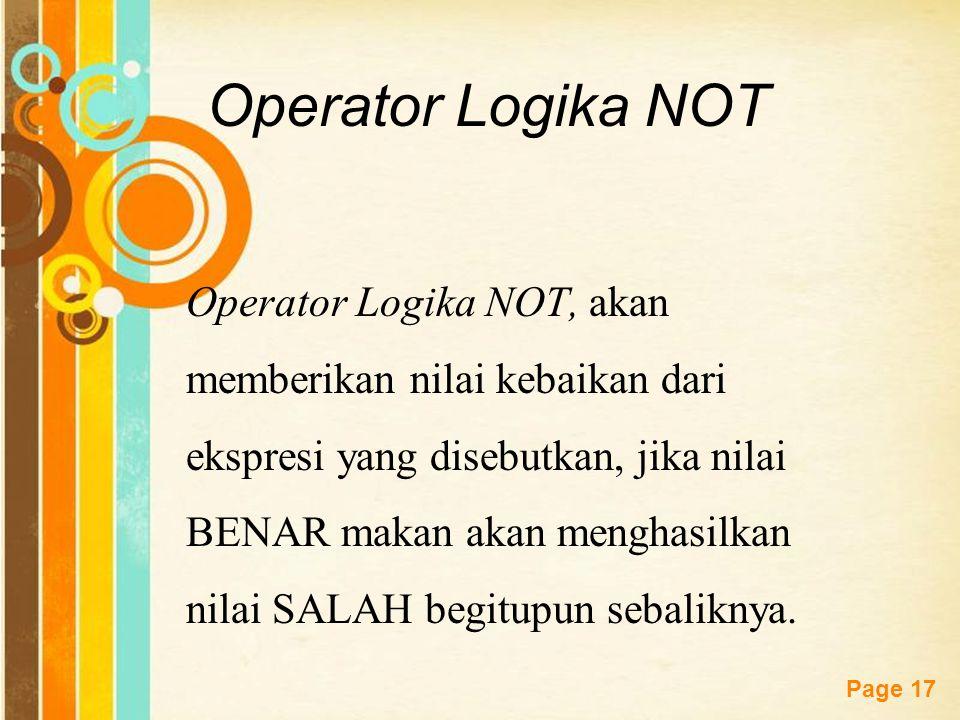 Operator Logika NOT