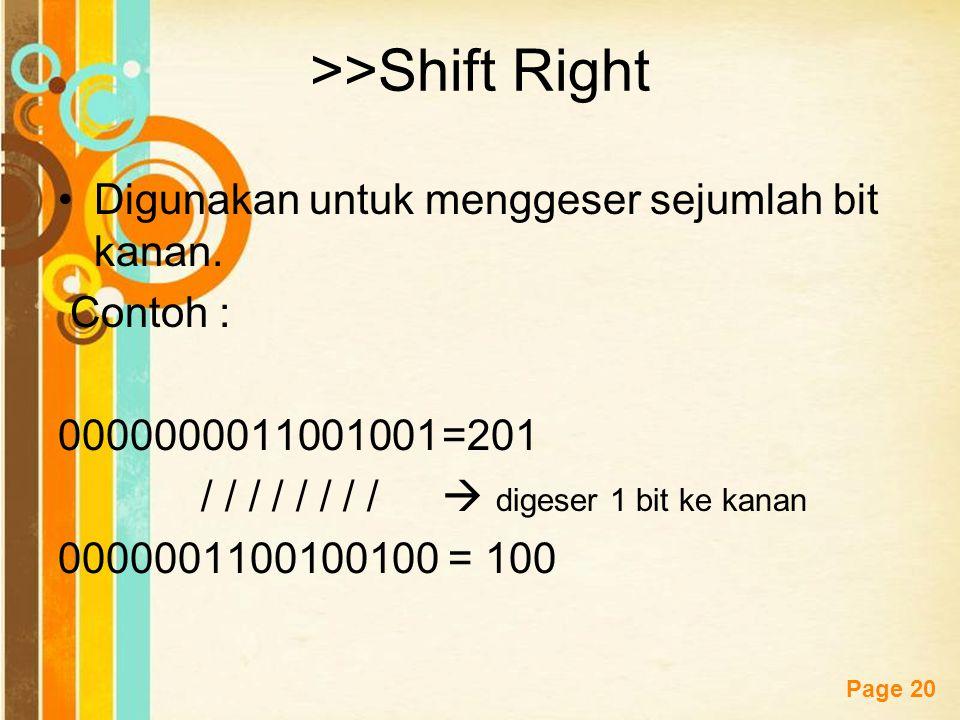 >>Shift Right Digunakan untuk menggeser sejumlah bit kanan.