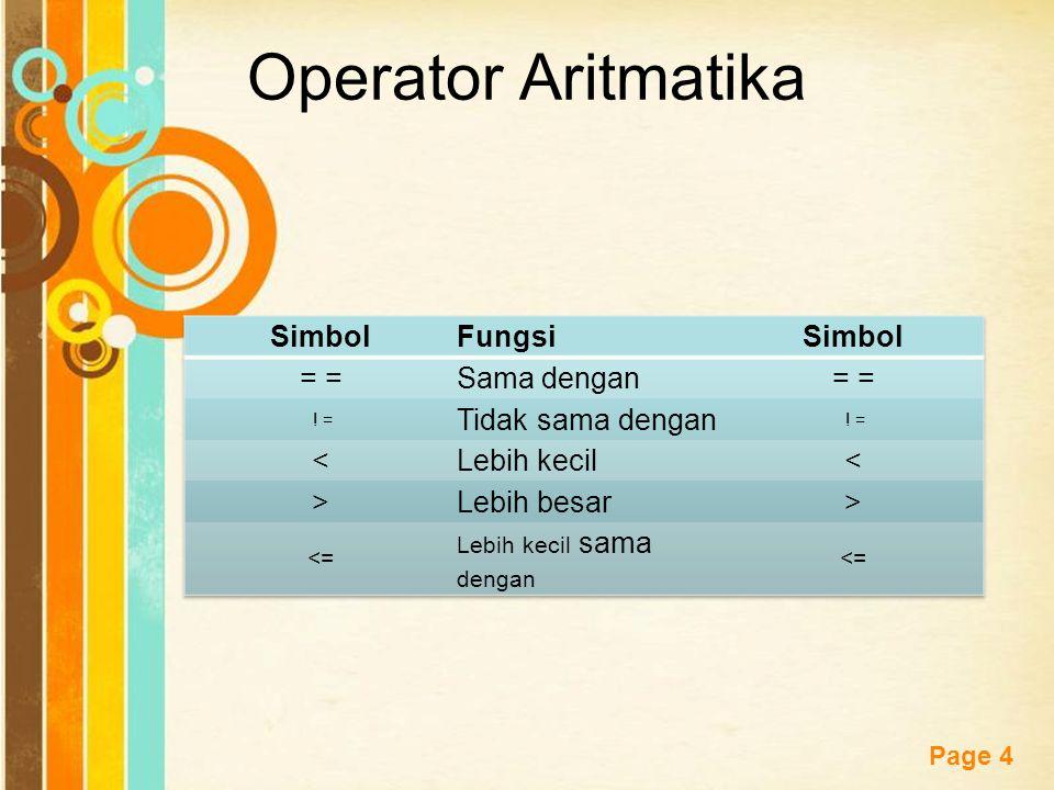 Operator Aritmatika Simbol Fungsi = = Sama dengan Tidak sama dengan