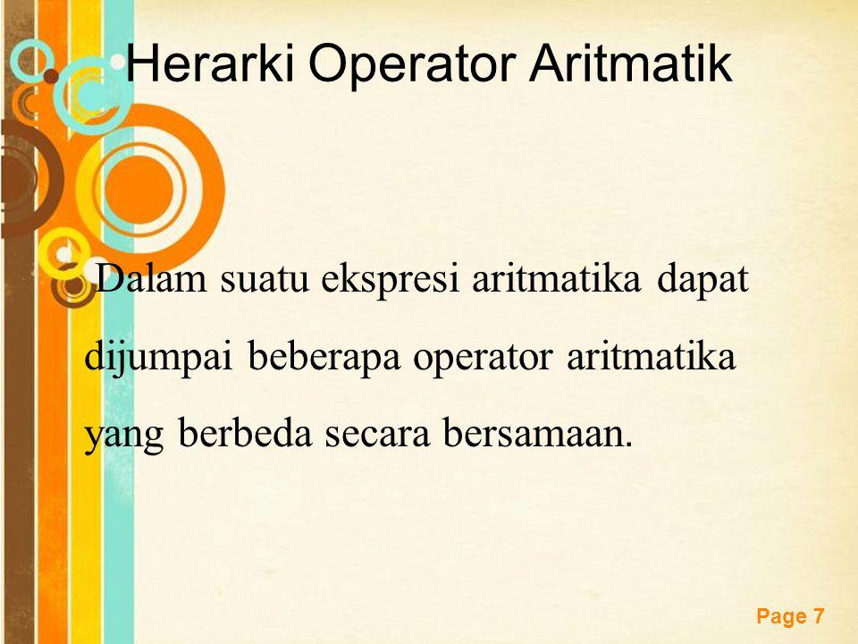 Herarki Operator Aritmatik