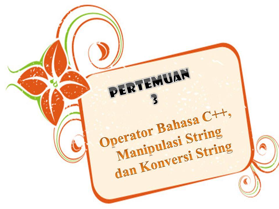 Operator Bahasa C++, Manipulasi String