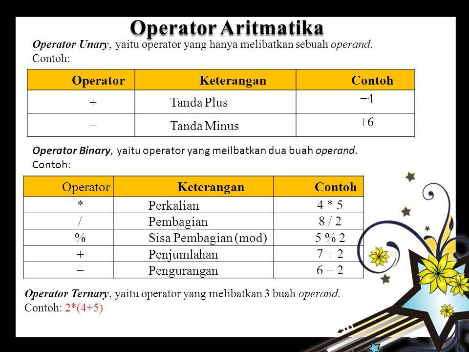 Operator Aritmatika Operator Keterangan Contoh + Tanda Plus −4 −