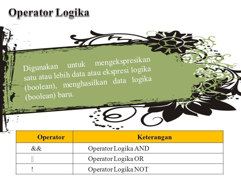 Operator Logika Digunakan untuk mengekspresikan satu atau lebih data atau ekspresi logika (boolean), menghasilkan data logika (boolean) baru.