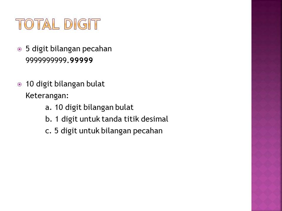 TOTAL DIGIT 5 digit bilangan pecahan 9999999999.99999