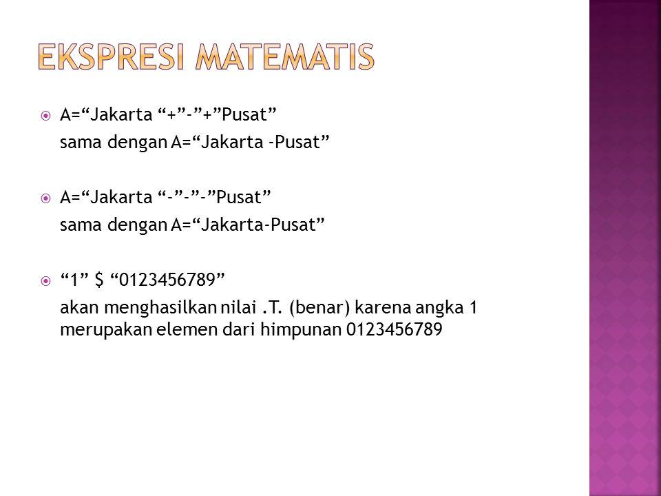EKSPRESI MATEMATIS A= Jakarta + - + Pusat