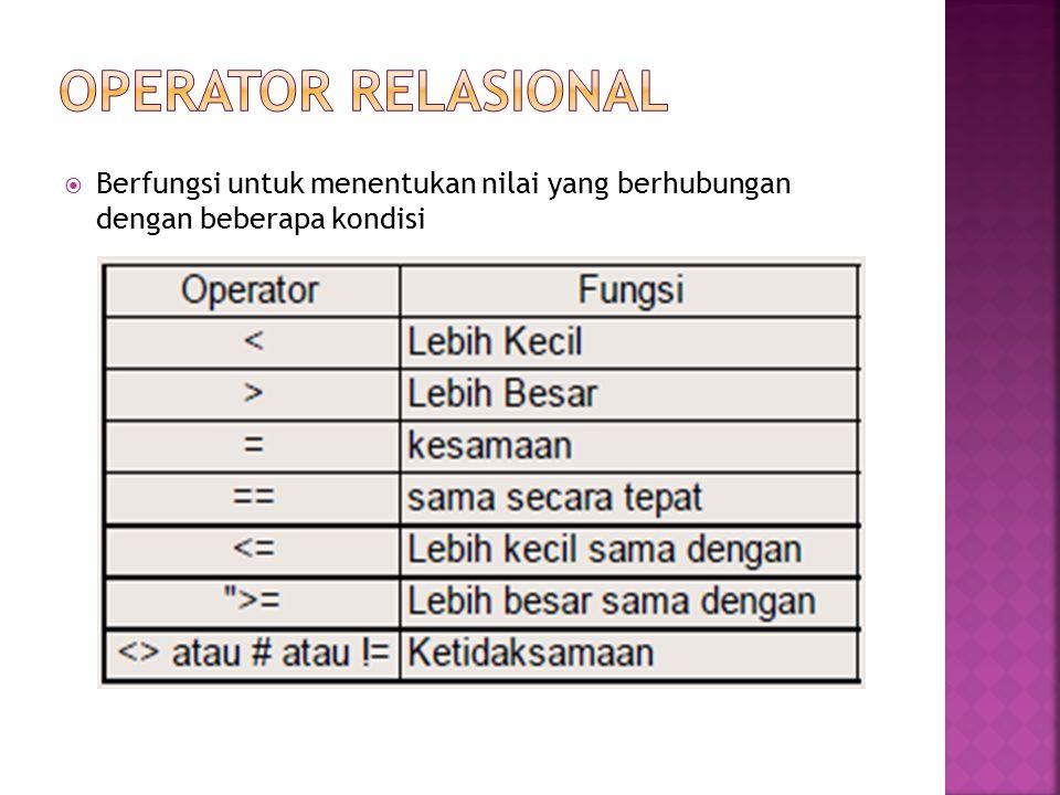 OPERATOR RELASIONAL Berfungsi untuk menentukan nilai yang berhubungan dengan beberapa kondisi