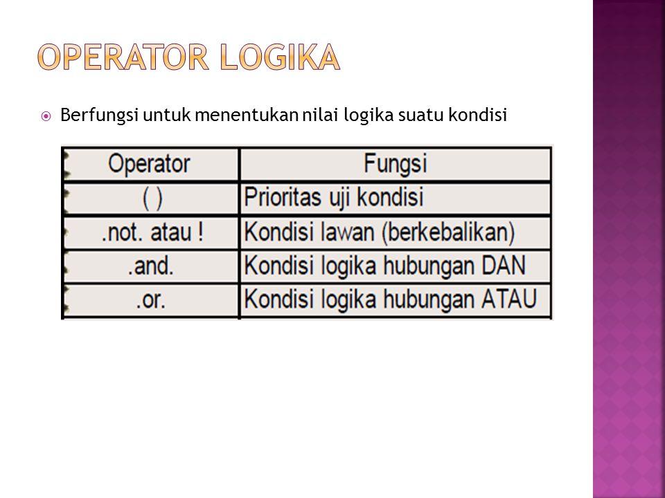 OPERATOR LOGIKA Berfungsi untuk menentukan nilai logika suatu kondisi
