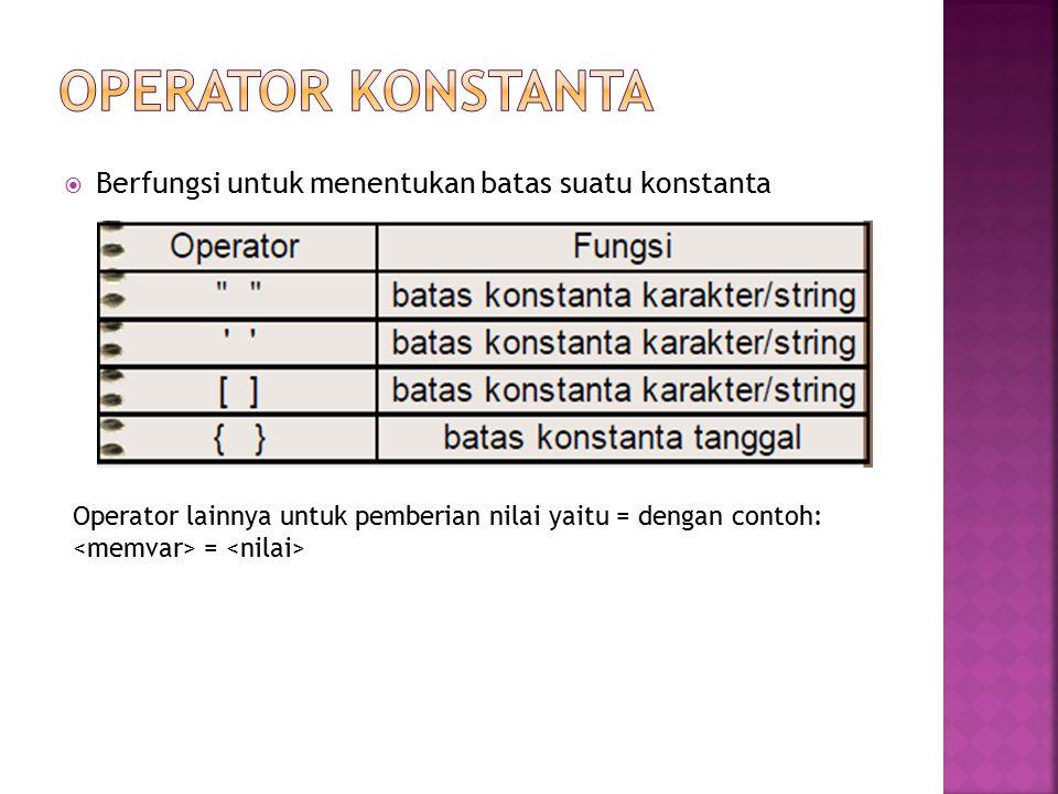 OPERATOR KONSTANTA Berfungsi untuk menentukan batas suatu konstanta
