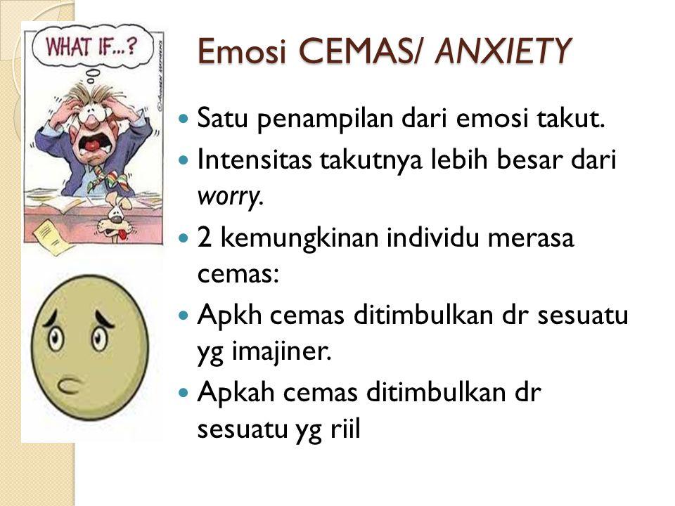 Emosi CEMAS/ ANXIETY Satu penampilan dari emosi takut.