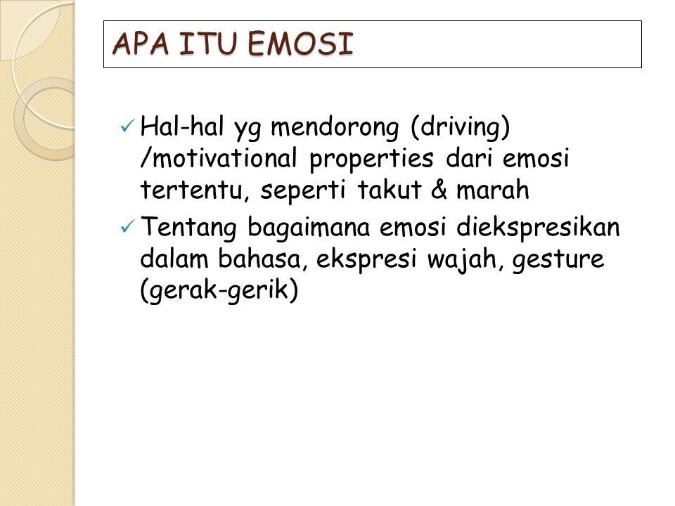 APA ITU EMOSI Hal-hal yg mendorong (driving) /motivational properties dari emosi tertentu, seperti takut & marah.