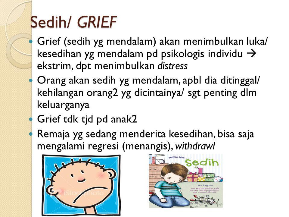 Sedih/ GRIEF Grief (sedih yg mendalam) akan menimbulkan luka/ kesedihan yg mendalam pd psikologis individu  ekstrim, dpt menimbulkan distress.
