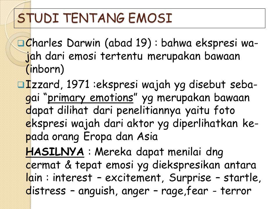 STUDI TENTANG EMOSI Charles Darwin (abad 19) : bahwa ekspresi wa- jah dari emosi tertentu merupakan bawaan (inborn)